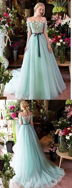 Long Evening Dress Formal Evening Dresses Ball Gown Off-the-shoulder Court Train Lace Fashion Prom Dresses,PD455878