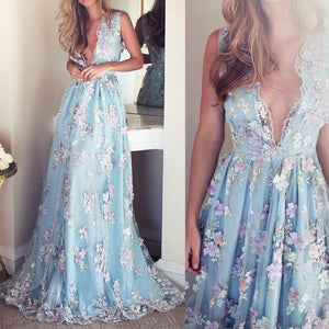V-neck Sleeveless Blue tulle Appliques Prom Dresses, Affordable Long A-line Prom Dress,BD15302