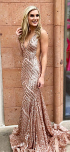 Long rose pink sequin sparkle formal sexy Prom Dress,BH91029