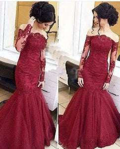 lace Prom Dresses,mermaid prom dress,off shoulder prom Dress,long sleeves prom dress,BD455858