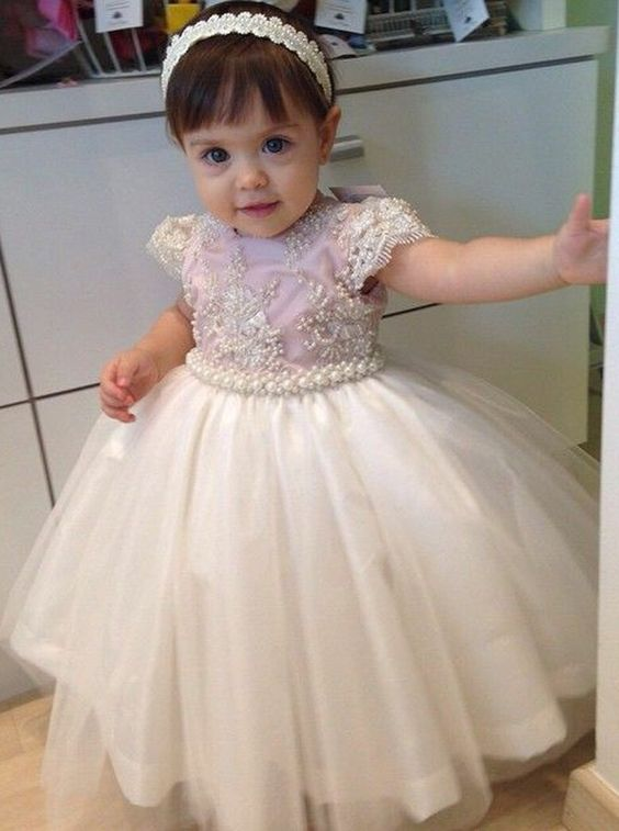 Cute Flower Girl Dresses, Short Sleeves Little Girl Dress, Girl's Party Dress, FD019