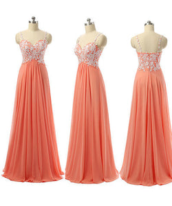 long prom Dress,orange Prom Dress,cheap prom dress,lace applique prom dress,party dress,BD679