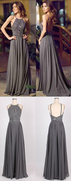 Grey prom dress, backless prom dress, beautiful prom dresses,BD450214