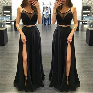 black Prom Dresses, two pieces prom dress, side slit prom Dress,long prom dress,party dress,BD1988