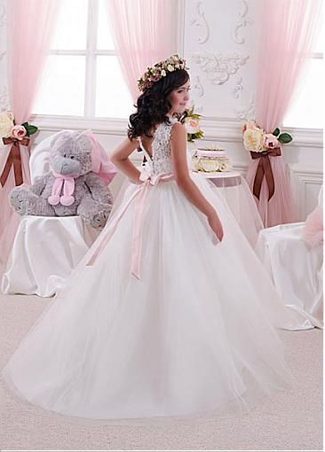 White Long Tulle Flower Girl Dresses For Wedding, Cute A-line Little Girl Dresses, FD009