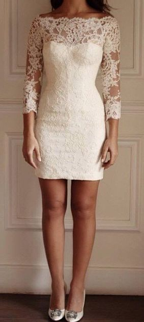 3/4 Sleeves White Homecoming Dress,short lace prom dresses for teens,PD45953