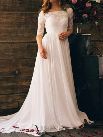 Off-the-shoulder Chiffon Lace And Open Back White Stunning 1/2 Sleeve Wedding Dresses,BD26203