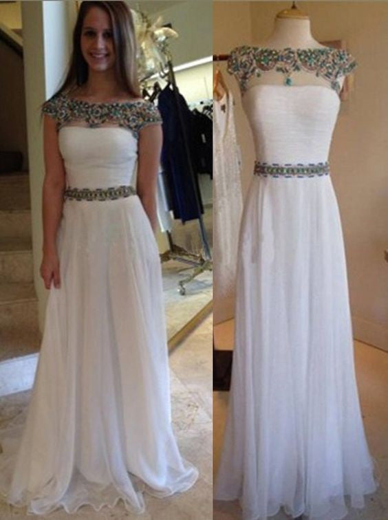 white prom dress,long prom dress,chiffon prom dress,cap sleeves prom dress,princess evening gown,BD2617