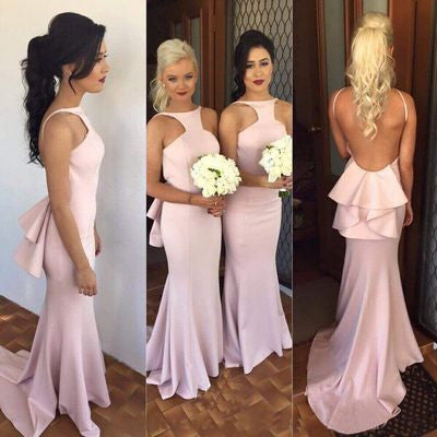 pink bridesmaid dress,long bridesmaid dress,mermaid bridesmaid dress,backless bridesmaid dress,BD668
