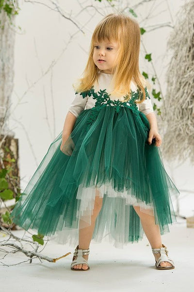 Green Flower Girl Dresses, Long Sleeves Little Girl Dress, Party Dress For Girls, FD021
