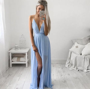 blue prom dress,long Prom Dress,v-neck prom dress,side slit prom dress,evening dress,BD1368