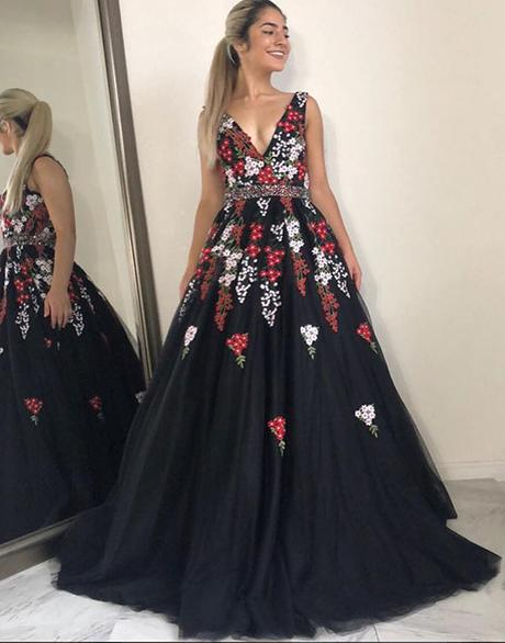 A-line black tulle with appliques v-neck long prom dress,HO191