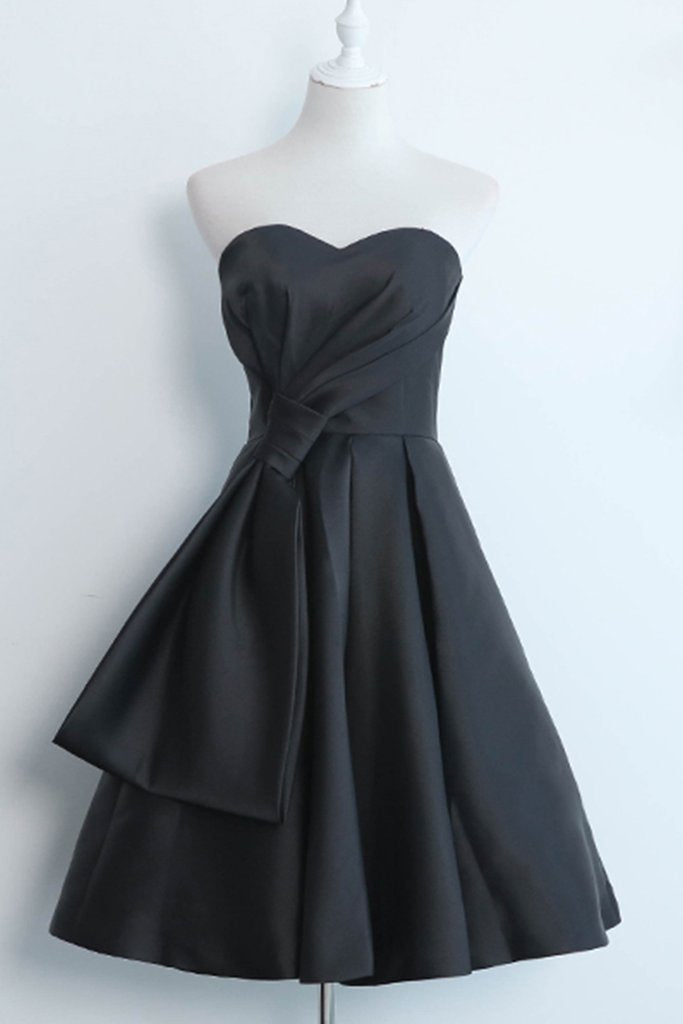 Simple Black Satin Strapless Short Prom Dress, Black Home Party Dress, BH91217