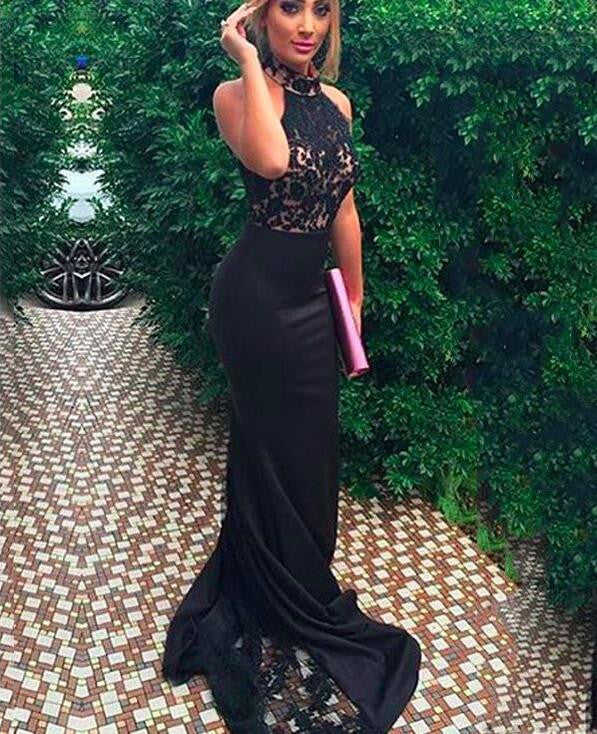 High Neck Prom Dresses,Off-shoulder Prom Dress,Mermaid Prom Dresses,Black Prom Dress,Cheap Prom Dresses,PD00170