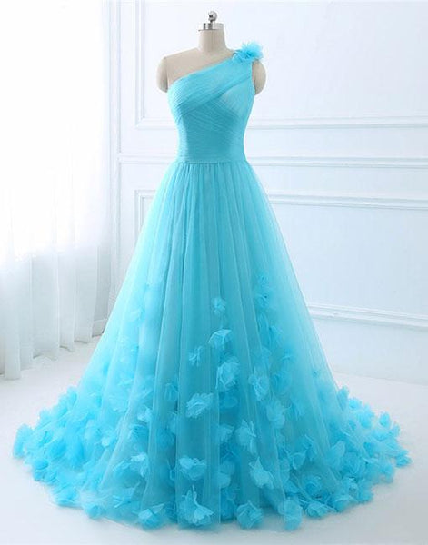 Blue one shoulder tulle long prom dress, evening dress,BD98002