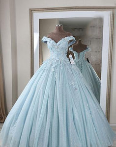 Blue v neck lace long prom dress, off shoulder evening dress