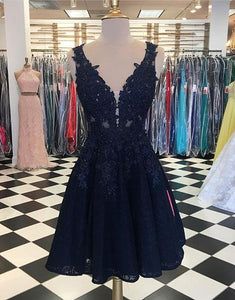 Blue v neck lace short prom dress, homecoming dress BD98004