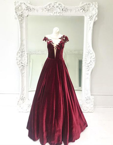 vintage velvet burgundy cap sleeves long prom dress,HO186