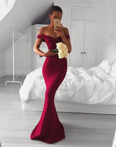 Burgundy v neck long prom dresses, mermaid evening dresses,BD1116