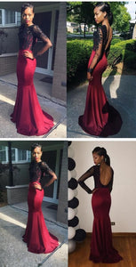 Long Sleeve Prom Dresses,Mermaid Prom Dress,Back Hollow Prom Dresses,Lace Prom Dress,Cheap Prom Dresses,PD00140