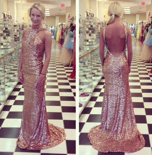 long Evening Dress,sequin Prom Dress,backless prom dress,sparkle prom dress,charming evening dress,BD2707