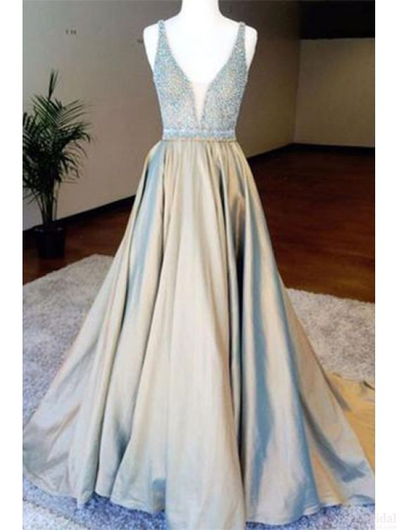 A line Deep V-neck Beading Bodice Long Prom Dresses Evening Dresses,PD4558921