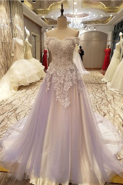 Lavender tulle prom gown wedding dresses,PD45033
