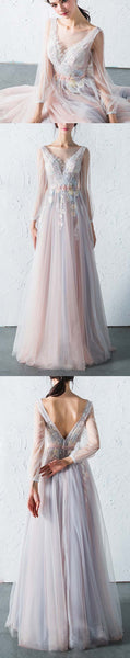 Affordable Long Sleeves Charming Unique V Back Long Prom Dresses,BD11786