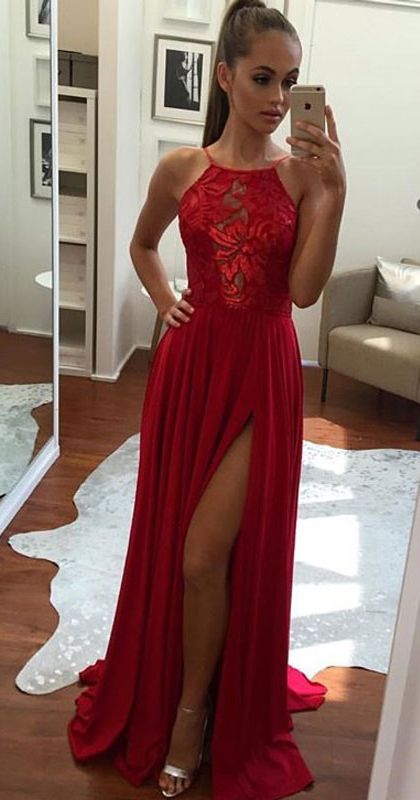Prom Dress,Unique Prom Gown,A-Line Halter Prom Dress,Sexy Split-Front Evening Dress,Red Chiffon Prom Dresses 2017,Long Prom/Evening Dress,Long Prom Dress,Graduation Dresses,BD42103