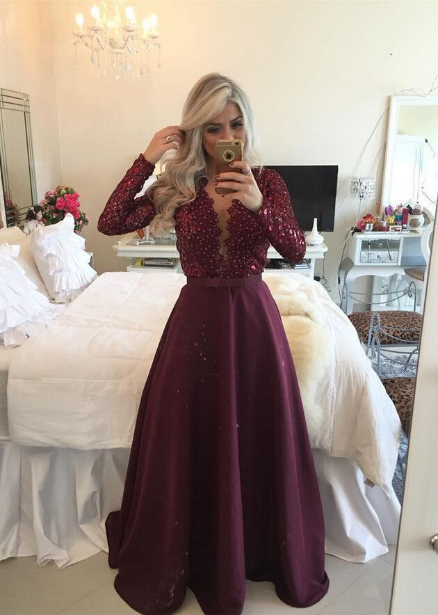Purple Prom Dress With Long Sleeves, Prom Dresses, Bridesmaid Dresses,PD455830