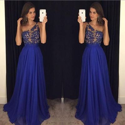royal blue Evening Dress,one shoulder Prom Dress,long prom dress, formal prom dress,charming evening gown,BD2702