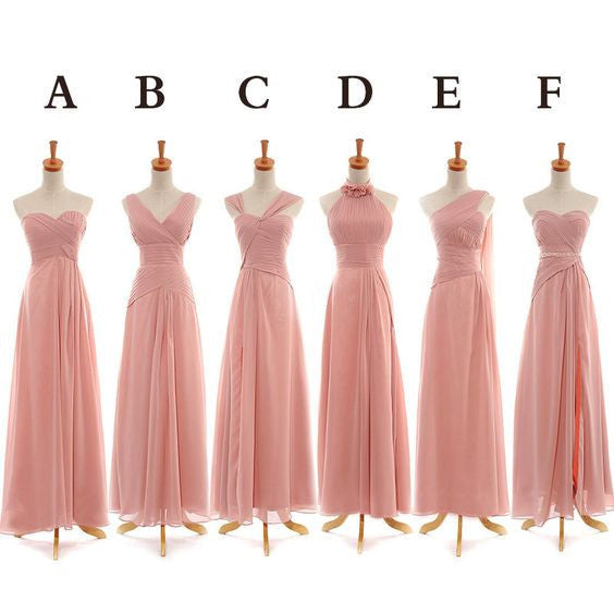 mismatched bridesmaid dress,long bridesmaid dress,pink bridesmaid dress,chiffon bridesmaid dress,BD845