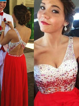 red prom dress,long prom dress,beaded prom dress,one shoulder prom dress,charming evening gown,BD2615