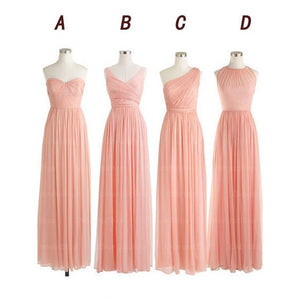 pink bridesmaid dress,long bridesmaid dress,chiffon bridesmaid dress,mismatched bridesmaid dress,BD567