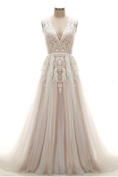 New design white flower lace appliques V neck long wedding dress, evening dress,PD45520