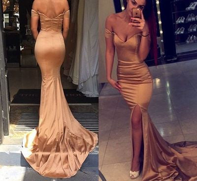 mermaid prom dress,long Prom Dress,off shoulder prom dress,gold prom dress,evening dress,BD1367