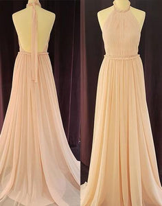 Chiffon backless long prom dress, bridesmaid dress,BD1117
