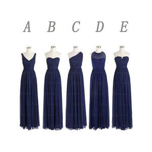 mismatched bridesmaid dress,long bridesmaid dress,chiffon bridesmaid dress,navy bridesmaid dress,BD354