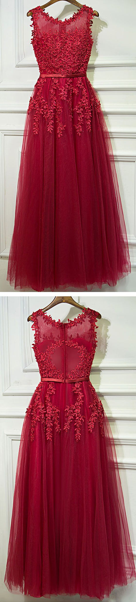 Red Formal Sleeves Tulle Applique Cheap Long Prom Dresses,PD455872