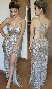 Deep V-Neck Open Back Split Floor Length Beading Prom Dress, Silver Sequins Prom Dresses, Sexy Backless Prom Dresses,PD45794