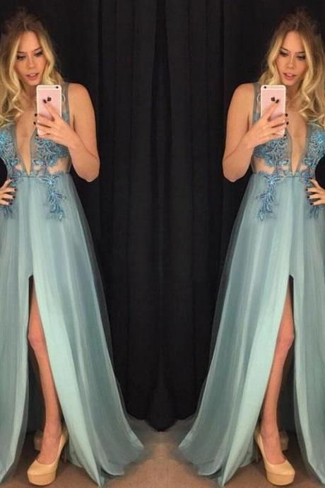 sexy deep v-neck blue long prom dress with slit, HO243