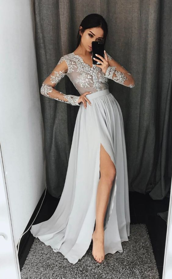 Gray A-Line long sleeve lace prom dress,gray evening dresses,PD4558912