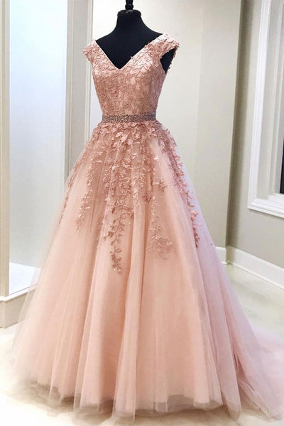 pink tulle with lace appliques formal A-line princess ball gown,HO130