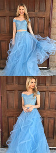 Two Pieces Prom Dresses,Blue Evening Dress,Tulle Prom GownsOff the Shoulder Prom Dresses,PD455871