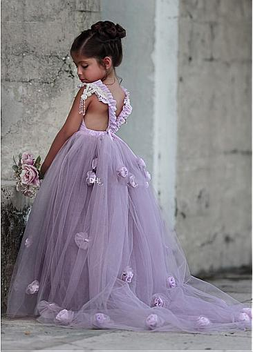 Lavender Flower Girl Dresses For Wedding,lovely little girl dress, FD011
