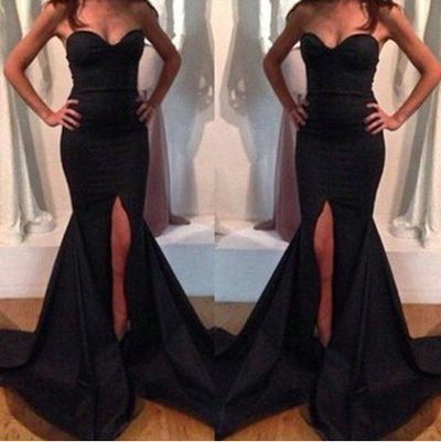 Black prom Dress,Mermaid Prom Dresses,Side slit prom Dress,Sweetheart prom dress,Evening dress,BD038