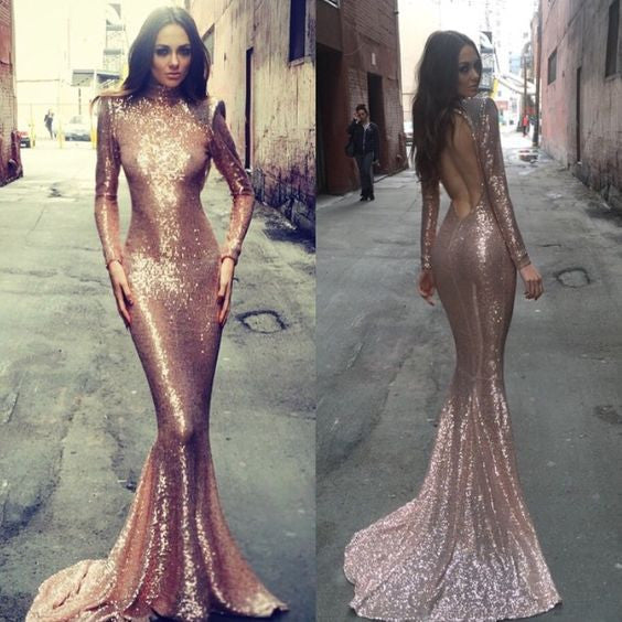 Charming prom Dress,sequin Prom Dresses,Long prom Dress,long sleeves prom dress,Party dress,BD0376