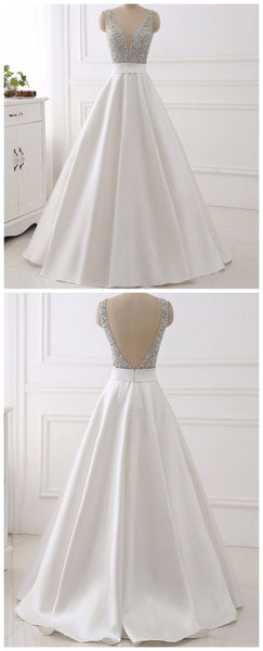 White Real Image Evening Dresses , Sparkly Beading Bodice Long Prom Party Gown,PD455884
