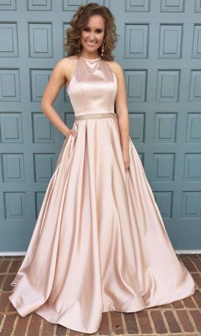 6d29289e6281 halter neck long satin pink prom dress,ball gowns prom dress,satin gowns,  ...