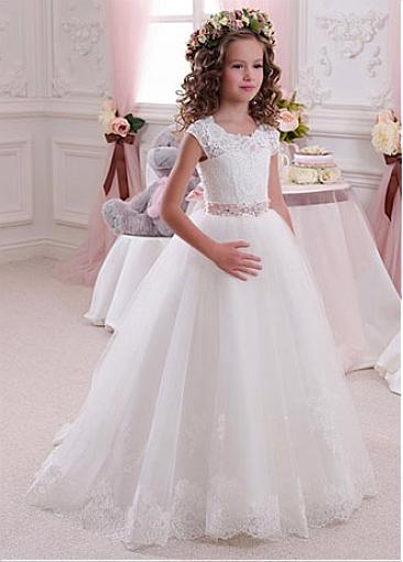 Cap Sleeves Long Ivory Lace Flower Girl Dresses For Wedding, Cheap Little Girl Dress, FD012